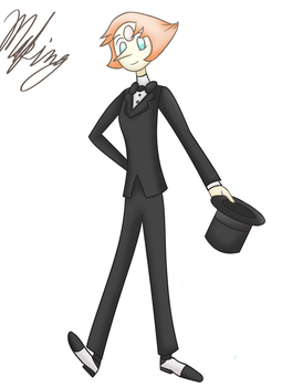 Pearl from Steven Universe in a tuxedo by Drawingsomecrap