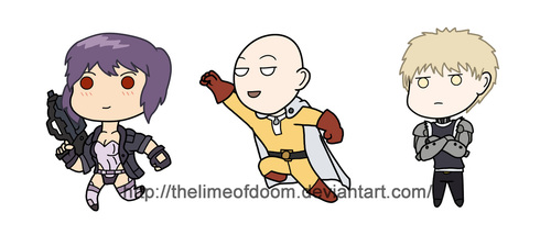 GITS and One Punch man chibis by thelimeofdoom