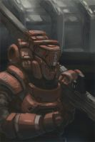 Heavy Rifle Marine with power armor by onestepart
