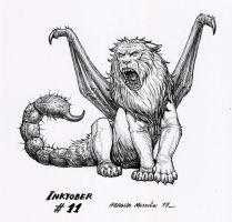 Manticore - Inktober 11 2017 by BrokenMachine86