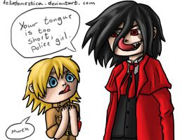 Can you lick your nose?  Hellsing fanart by felixdomestica