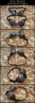 Matched Silver Steampunk Goggles by CaelynTek