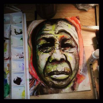 mixed media old woman by resqben