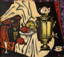 Still life with samovar by AmsterdamArtGallery