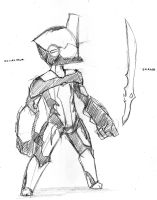 SK Crossover: Excalibur Warframe (WIP) by swampster12