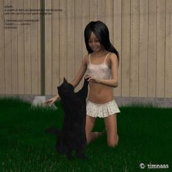 Akane Plays With Her Cat  For Tiffany By Succubi T by Tiffany-Windsong