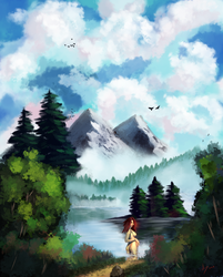 Bob Ross style landscape, lake, nude woman by discipleneil777