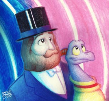 Dreamfinder and Figment in the Rainbow Corridor by PlutoEmmaLoo