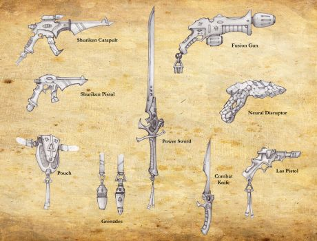 Eldar Weapons by carlos1170