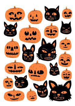 Cats and Pumpkins by Teagle