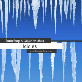 Icicles Photoshop and GIMP Brushes by redheadstock