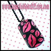 Kiss My Lips Dog Tag by wickedland