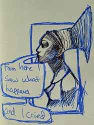 museum sketch in blue by Chynite