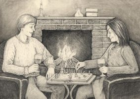 An Evening by the Fire by shadowycat