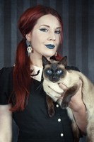 My cat Minka and I by MADmoiselleMeli
