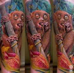 Colored Lemur Tattoo by Remistattoo