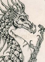 Pen and Ink Dragon ACEO by The-GoblinQueen
