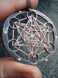 Metatron's Cube multilayered pendant by jeanburgers