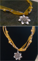 Yellow Flower Jewel Ribbon Necklace by LiviaAlexandra