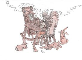 Beorn and Radagast playing chess by zoccu