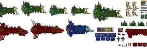 Battlefleet Gothic Pixel - templates by Sleeping-Demons