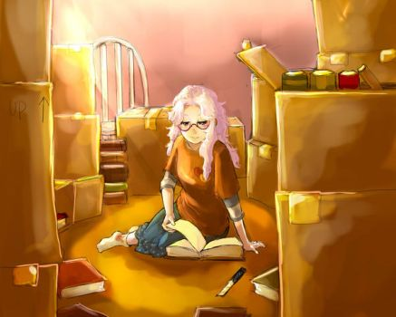 Moving in and getting caught in a book by G-Chan0nly