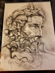 Neptune Sculpture Drawing!! Work in Progress.Pt2 by Halasaar01