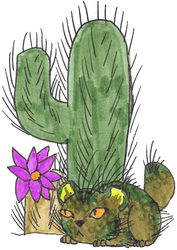 Cactus Cat by SlightlyWinged