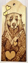 Loved up Sunbear Woodburning by BumbleBeeFairy