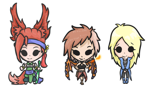 The Chibi girl trio by Saragonvoid