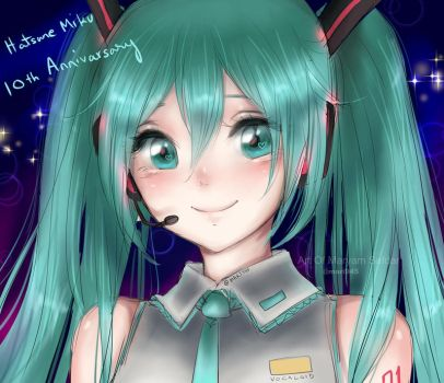 Hatsune Miku 10th Anniversary by Mari945