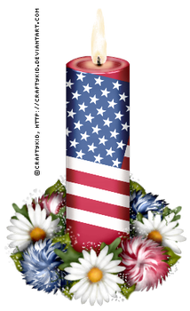 Red Flag Candle with flowers by Craftykid