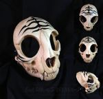 Striped Cat Skull Mask by Bueshang