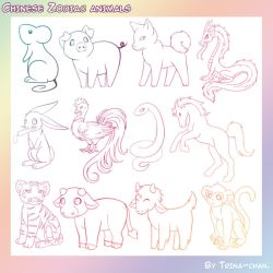 Chinese Zodiac Animal Brushes by Trinamon