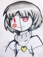 Undertale chara with a mask by Tomboywolfthief