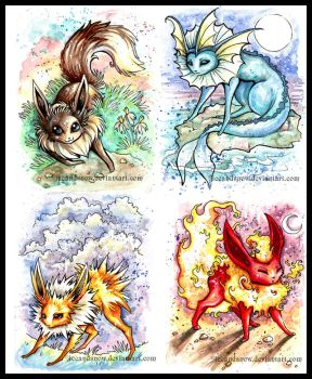 Eevee + 'eons paintings 1-4 by IceandSnow