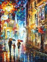Family In The Rain by Leonid Afremov by Leonidafremov