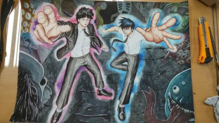 Mob Psycho watercolour thingy by HPE24