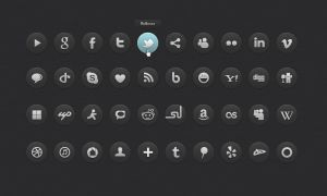 Free Dark Social Icons Set by Pixeden