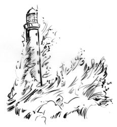 Illustration - Line triptych - Lighthouse by TheLipGlossary