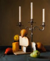 Still Life With Pears, Cheese, and Candlebra by evincent