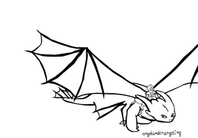 Lineart- Hiccup and Toothless by AngelAndChangeling