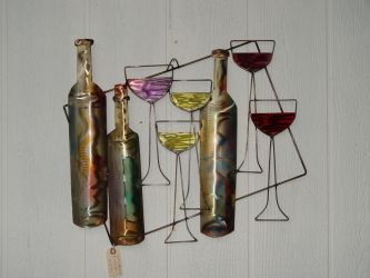 Wine and Glasses medium by GreatLakesMetalWorks