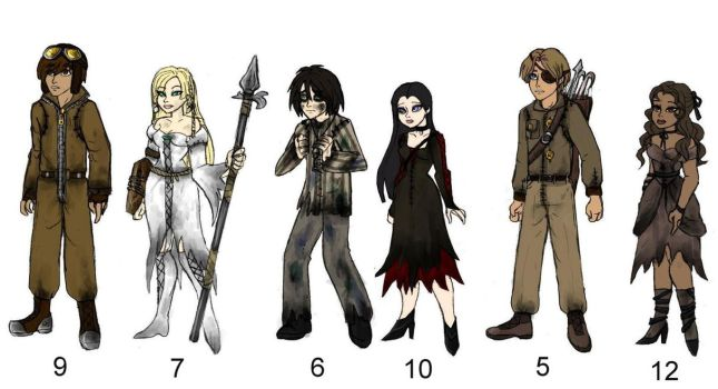 Human 9 characters.... by Lily-pily