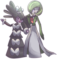 Gothitelle and Gardevoir Commission