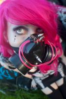 Pink hair gas mask by WednesdayStock