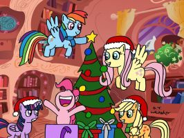 Decorating the Tree with the Ponies by DJgames