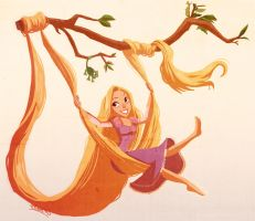 Rapunzel and Pascal by VPdessin