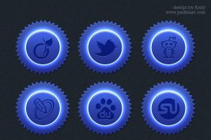 Blue color social icon set by psdblast