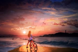 Girl on bike ride by Klowreed